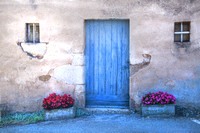Grozon; Blue Door and Begonias
